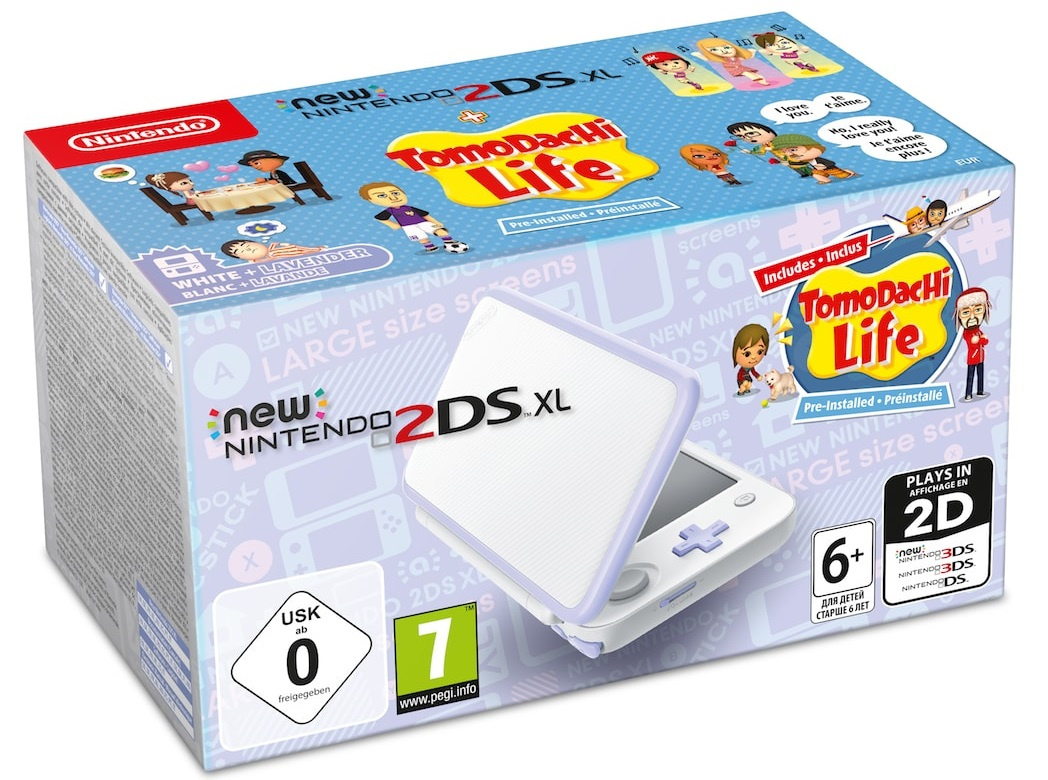 New Nintendo 2DS XL White + Lavender