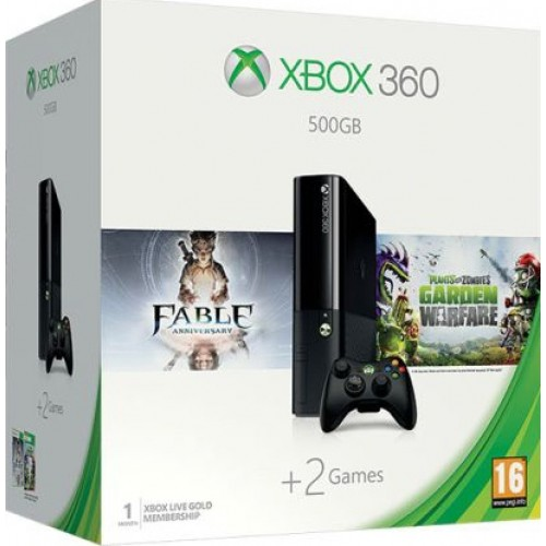 Xbox 360 E-széria 500 GB + Fable Anniversary + Plants Vs Zombies Garden Warfare