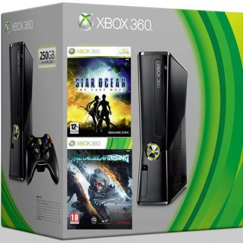 Xbox 360 Slim 250 GB + Metal Gear Rising + Star Ocean: The Last Hope