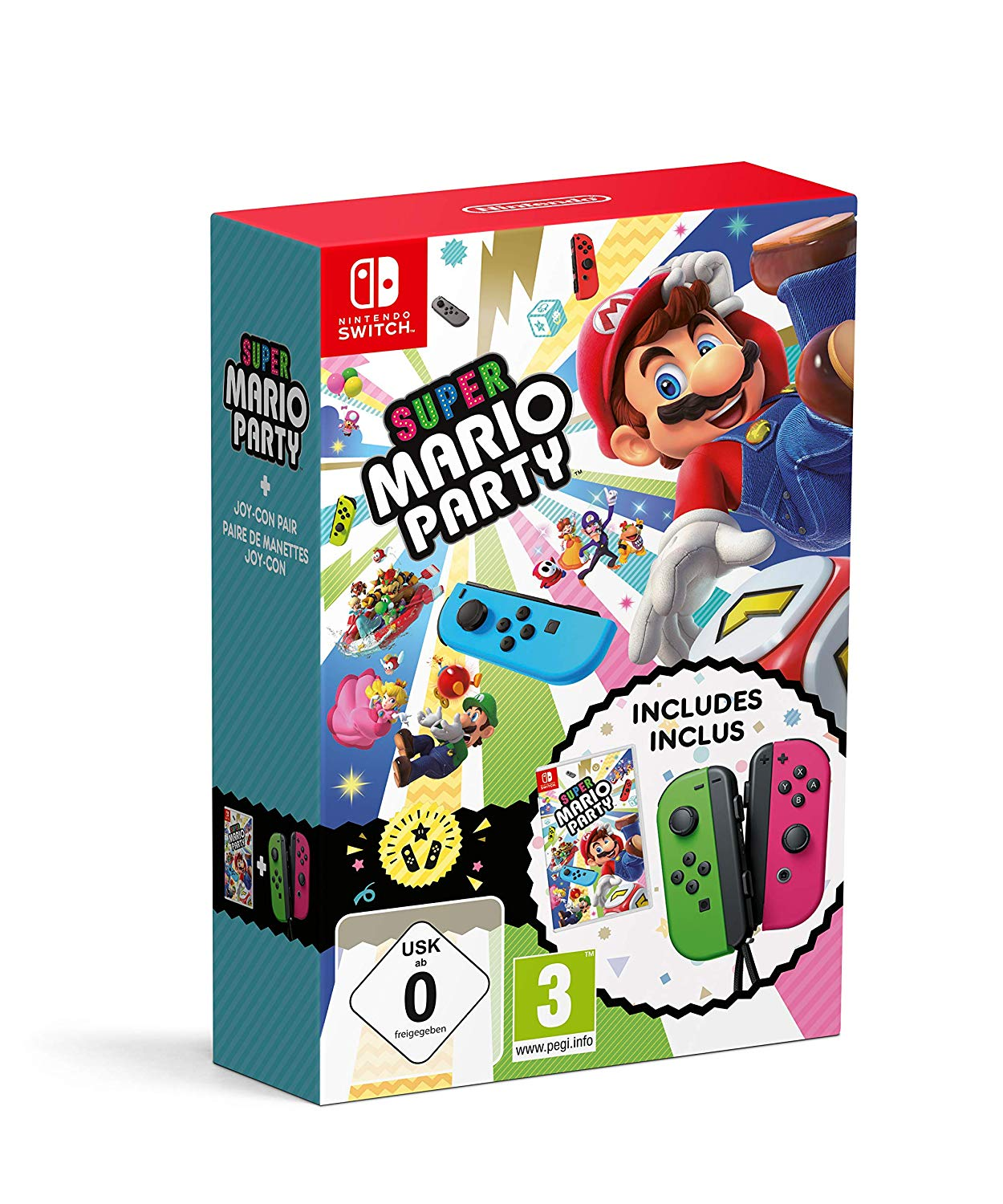 Super Mario Party + Neon Green/ Neon Pink Joy-Con