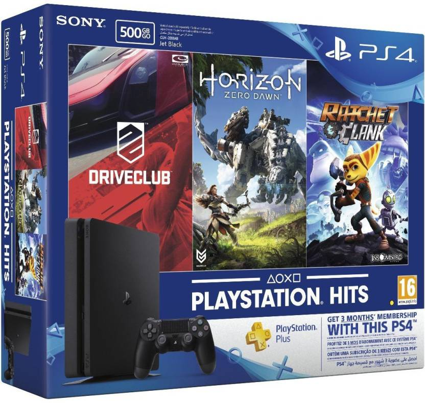 PlayStation 4 Slim 500GB + Driveclub + Horizon Zero Dawn + Ratchet and Clank