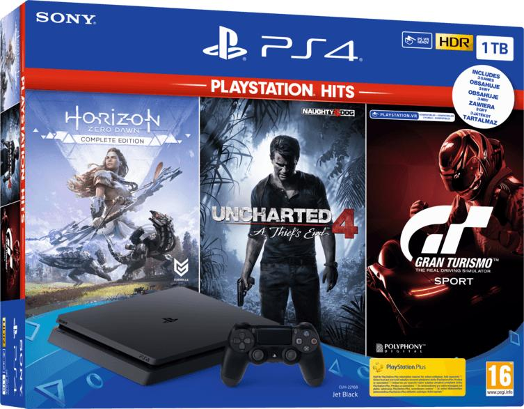 PlayStation 4 Slim Jet Black 1TB +Horizon Zero Dawn + Uncharted 4 + Gran Turismo Sport